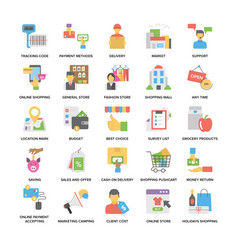Flat icons set of shopping and commerce vector