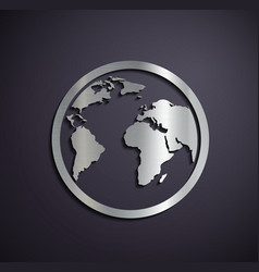 Flat metallic logo Earth vector image