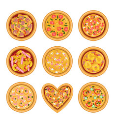 flat set of tasty pizza with different vector image