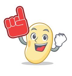 Foam finger soy bean mascot cartoon vector