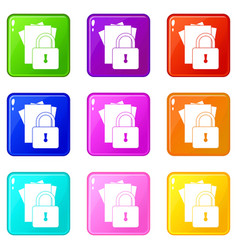 Folders with padlock icons 9 set vector