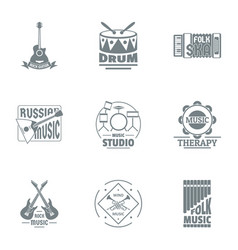 Folk music logo set simple style vector