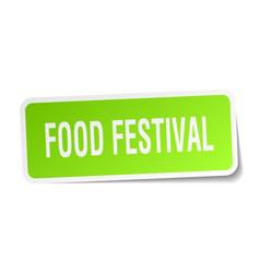 food festival square sticker on white vector image
