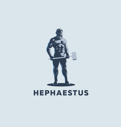 God hephaestus holds a hammer in his hands vector