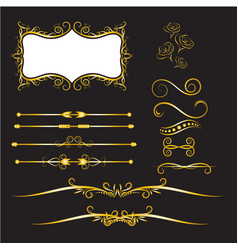 gold vintage decorations elements flourishes vector image
