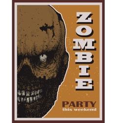 Halloween zombie party banner vector