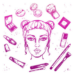 Hand drawn make up composition vector