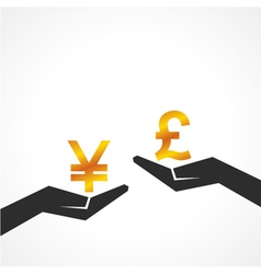 Hand hold yen and pound symbol to compare vector image