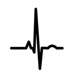 Heart rhythm ekg black color icon vector