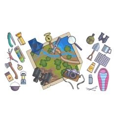 Hiking equipment info graphicsmountain icons vector