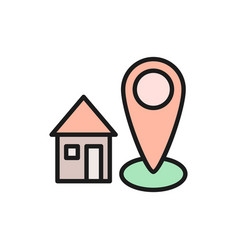 Home address house with destination mark vector