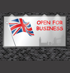 illuminated advertising billboard uk open business vector image