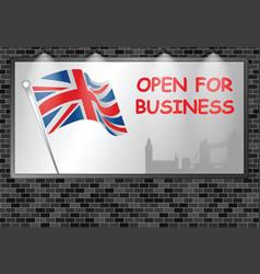 Illuminated advertising billboard uk open business vector