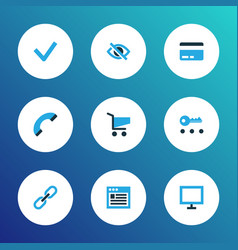 interface icons colored set with checkmark hide vector image