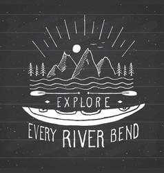 kayak and canoe vintage label hand drawn sketch vector image