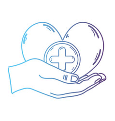 line hands with heart medicine symbol to help the vector image
