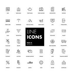 Line icons set banking vector