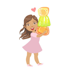 little girl carring a colorful citrus jelly a vector image