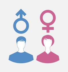 Male and female icons gender symbols vector