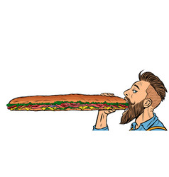 man eats a long sandwich vector image