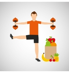 Man weight exercising bag health food vector