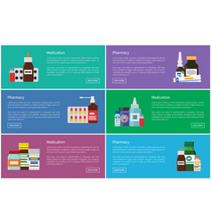 Medication pharmacology set vector