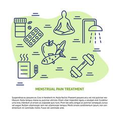 Menstruation pain treatment concept banner in line vector