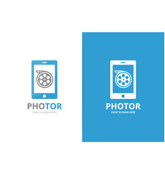 movie and phone logo combination cinema vector image