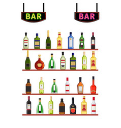 neon signs bar and shelfs with alcohol bottles vector image