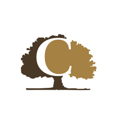 Oak tree with letter c vector