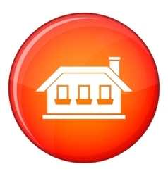 One-storey house with three windows icon vector
