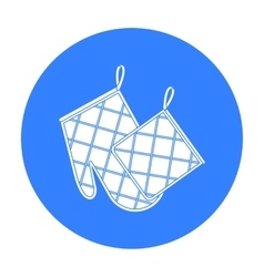 Oven glove and pot holder icon in black style vector
