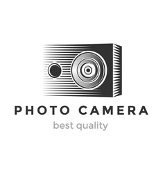 photo camera logo design camera lined silhouette vector image