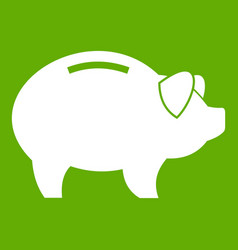 Piggy icon green vector