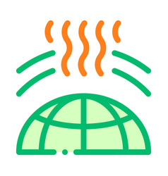 Planet earth ozone hole thin line icon vector