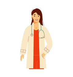 Practitioner doctor person woman with stethoscope vector