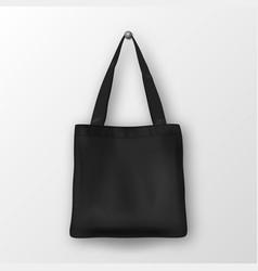 Realistic black empty textile tote bag vector