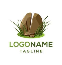 realistic broken stone logo design vector image
