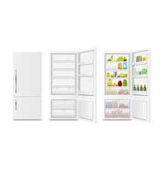 realistic detailed 3d full and empty fridge vector image