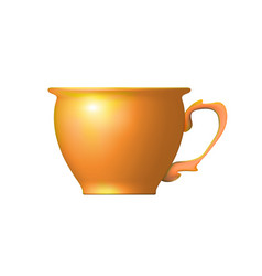Realistic tea cup from clay orange isolated vector