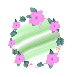 Round floral design social ads template vector