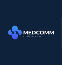rrow health care logo design medical connect vector image