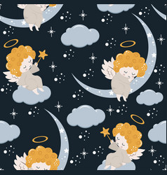 Seamless pattern with angel and moon vector