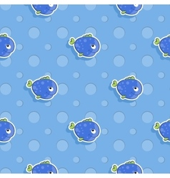 seamless sea pattern with smiling blue fish vector image