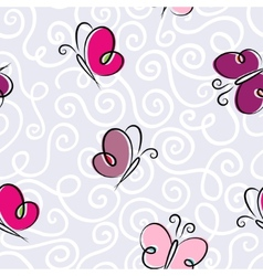 Seamless wallpaper with a butterflies vector image