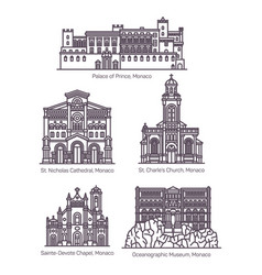 set monaco famous architecture in thin line vector image