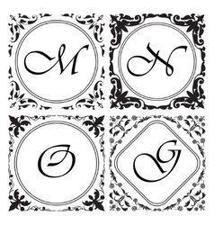 Set of medieval ornamental monograms framework vector