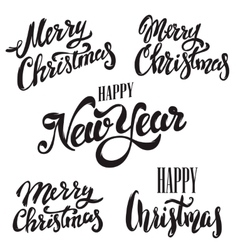 Set of Merry Christmas lettering isolated on white vector image