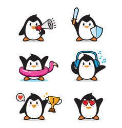 Set penguin character design vector