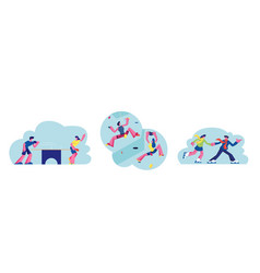 set people sport activity characters climbing vector image